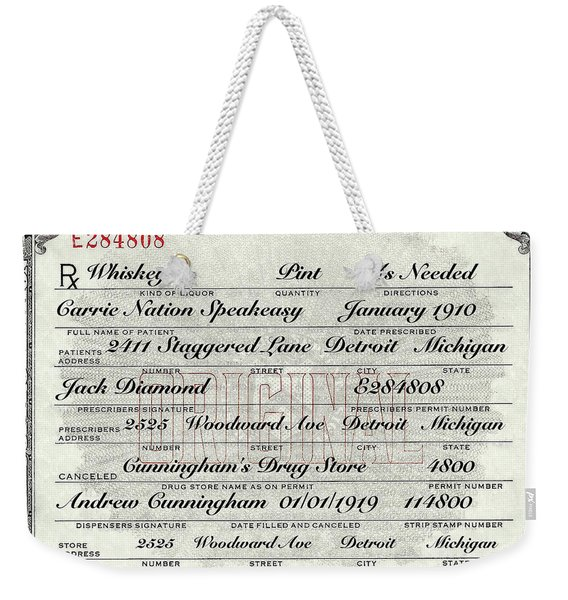 Prohibition Prescription Certificate Carrie Nation Speakeasy Weekender Tote Bag