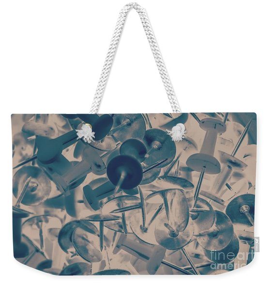 Projected Abstract Blue Thumbtacks Background Weekender Tote Bag