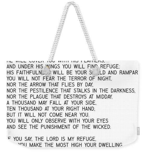 Psalm 91 #minimalism Weekender Tote Bag