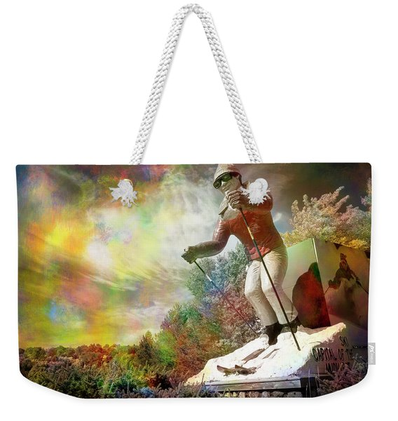 Weekender Tote Bag featuring the photograph Psychedelic Skier by Mary Lee Dereske