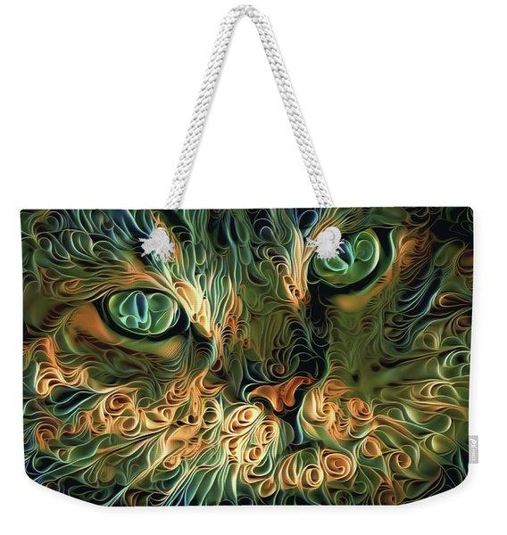 Psychedelic Tabby Cat Art Weekender Tote Bag