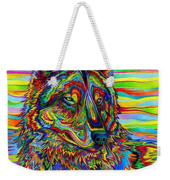 Psychedelic Wolf Weekender Tote Bag