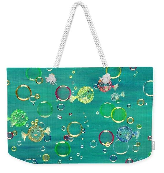 Pufferfish Rainbow Weekender Tote Bag
