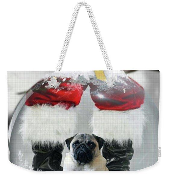 Pug And Santa Weekender Tote Bag