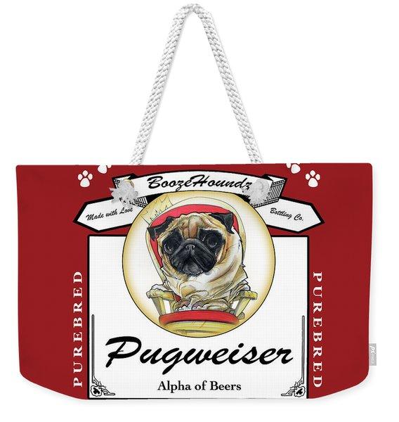 Pugweiser Beer Weekender Tote Bag