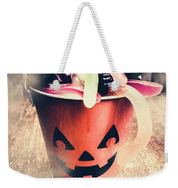 Pumpkin Head In A Misty Halloween Scene Weekender Tote Bag