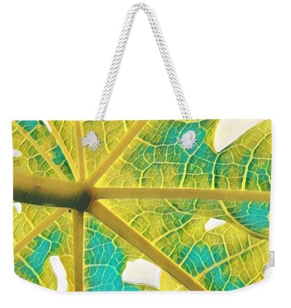 Puna Papaya Leaf Weekender Tote Bag
