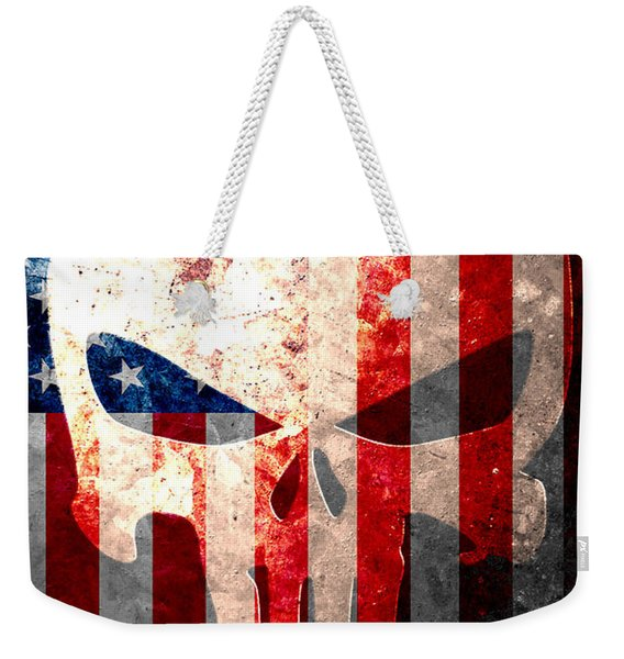 Punisher Themed Skull And American Flag On Distressed Metal Sheet Weekender Tote Bag