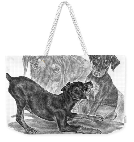 Puppy Love - Doberman Pinscher Pup Weekender Tote Bag