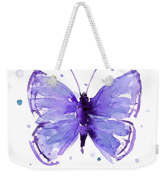 Purple Abstract Butterfly Weekender Tote Bag