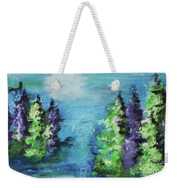 Weekender Tote Bag featuring the painting Purple And Green by Kim Nelson