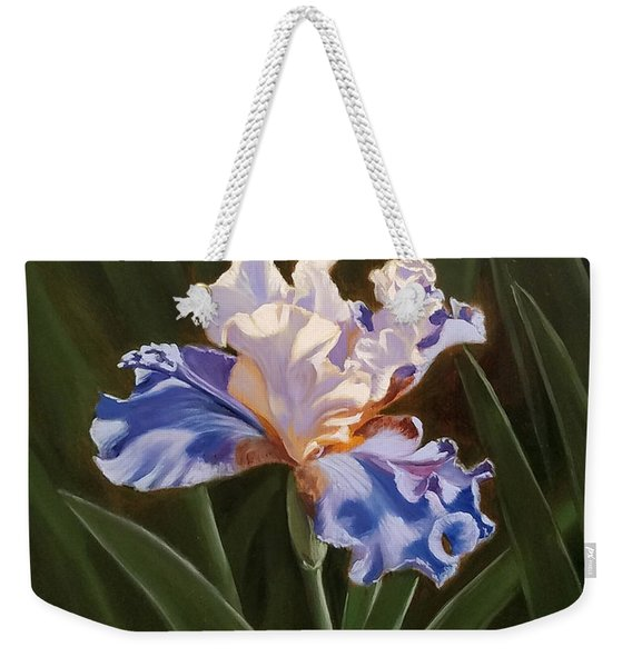Purple And White Iris Weekender Tote Bag
