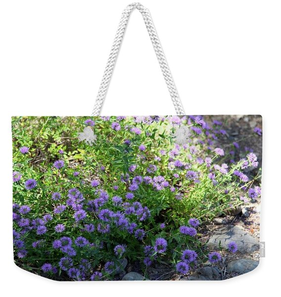 Purple Bachelor Button Flower Weekender Tote Bag