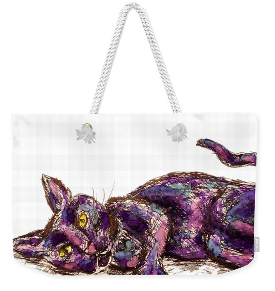 Purple Cat Weekender Tote Bag