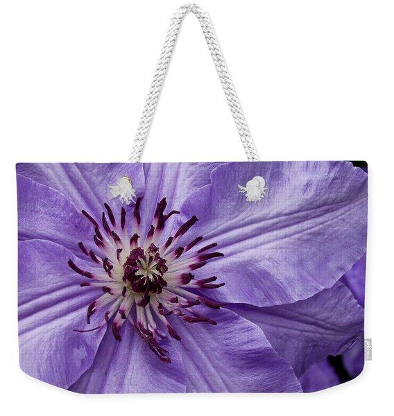 Purple Clematis Blossom Weekender Tote Bag