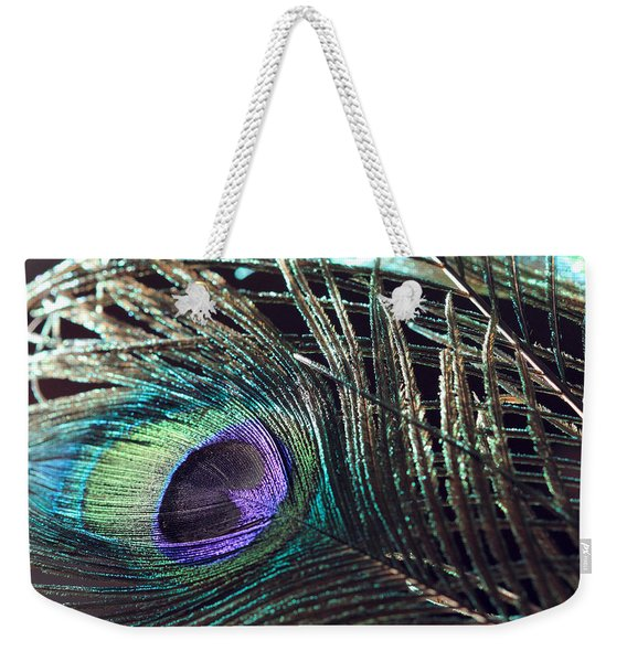 Purple Feather With Dark Background Weekender Tote Bag