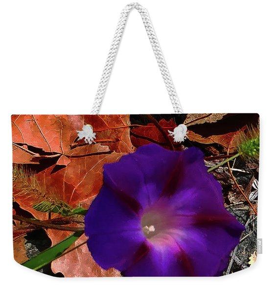 Purple Flower Autumn Leaves Weekender Tote Bag
