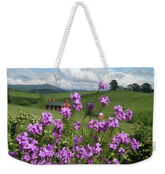 Purple Flower In Landscape Weekender Tote Bag