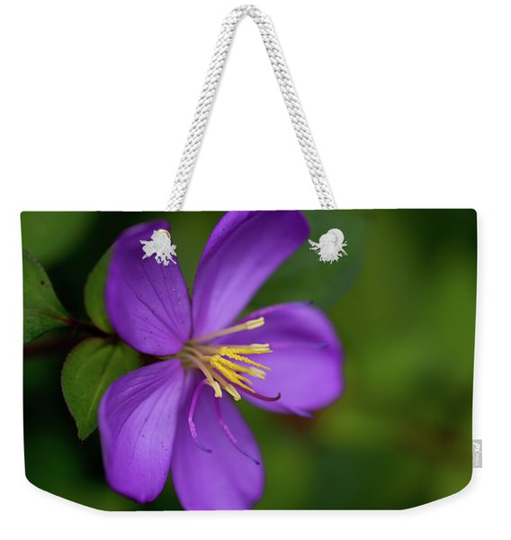 Purple Flower Macro Weekender Tote Bag