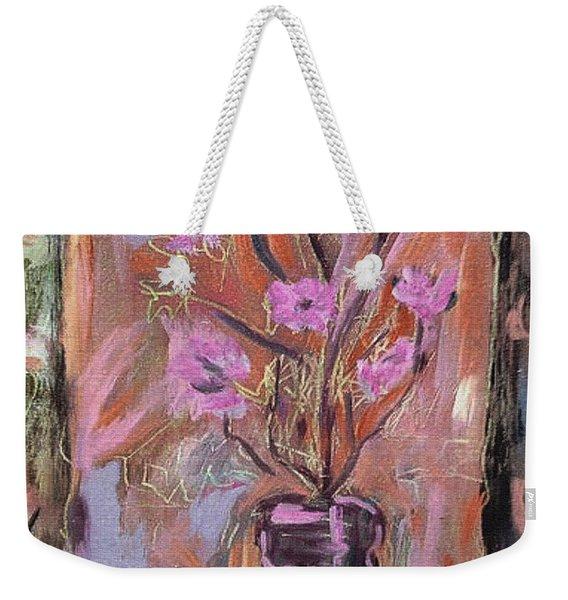 Purple Flowers In Vase Weekender Tote Bag