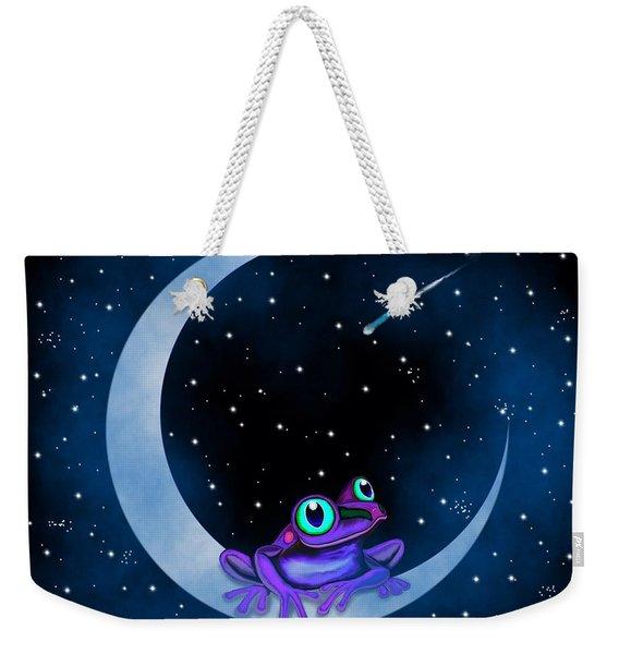 Purple Frog On A Crescent Moon Weekender Tote Bag