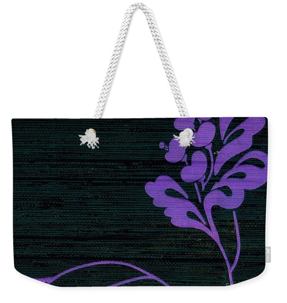 Weekender Tote Bag featuring the mixed media Purple Glamour On Black Weave by Writermore Arts