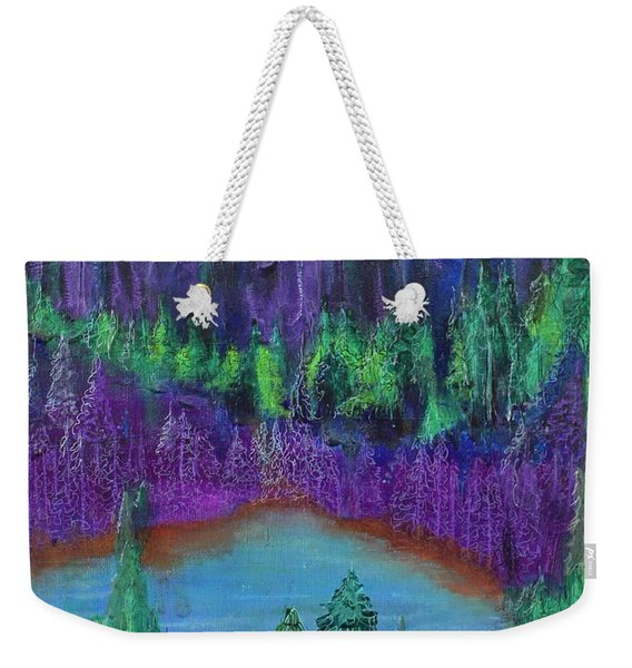 Weekender Tote Bag featuring the painting Purple Gorge by Kim Nelson