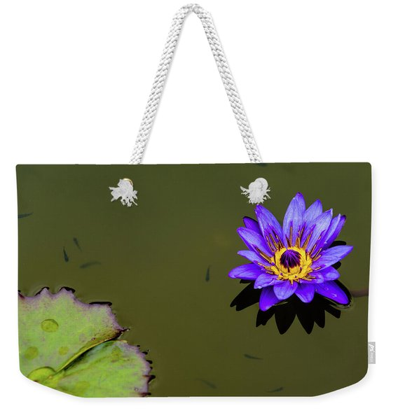 Purple Lily With Tiny Fish Weekender Tote Bag