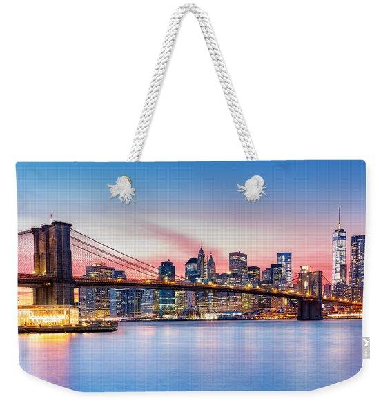 Purple Nyc Sunset Weekender Tote Bag