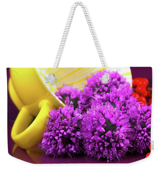 Purple Onion Flower Macro Weekender Tote Bag