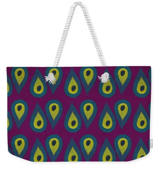 Purple Peackock Print  Weekender Tote Bag