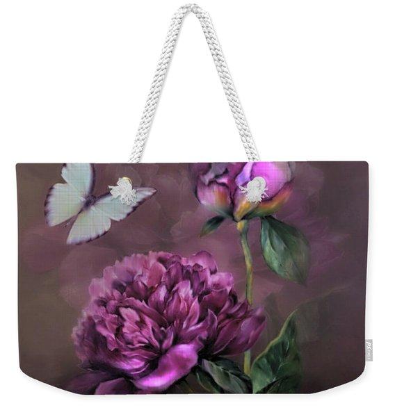 Purple Peony Weekender Tote Bag