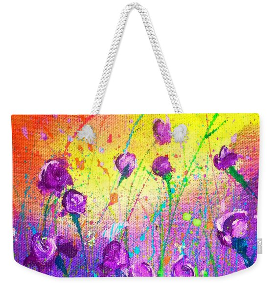 Purple Posies Weekender Tote Bag