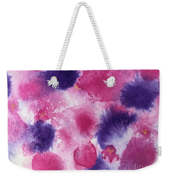 Weekender Tote Bag featuring the painting Purple Rain by Kim Nelson