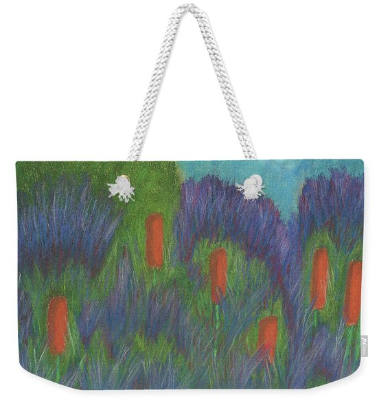 Purple Strife And Cattails Weekender Tote Bag