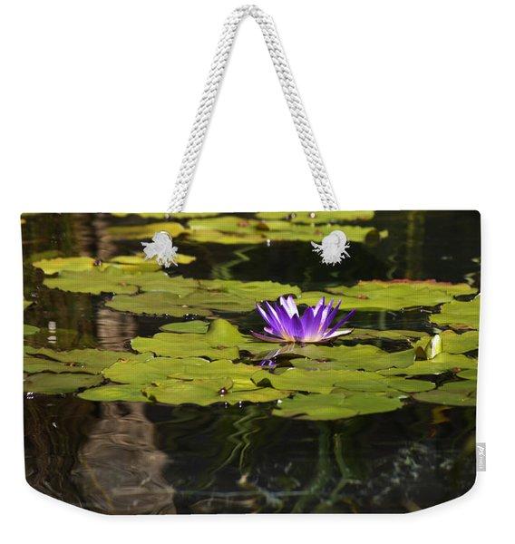 Purple Water Lilly Distortion Weekender Tote Bag