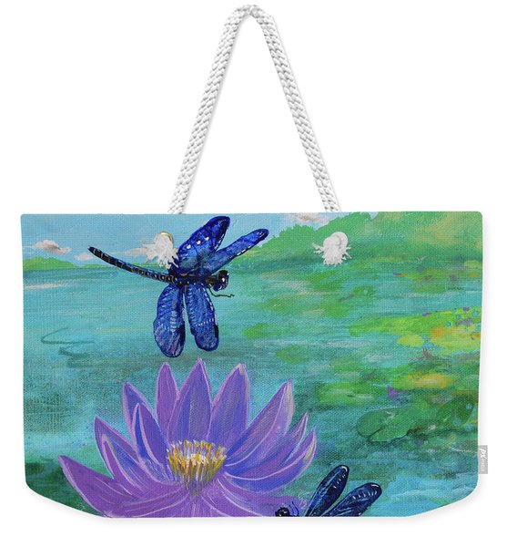 Purple Water Lily And Dragonflies Weekender Tote Bag