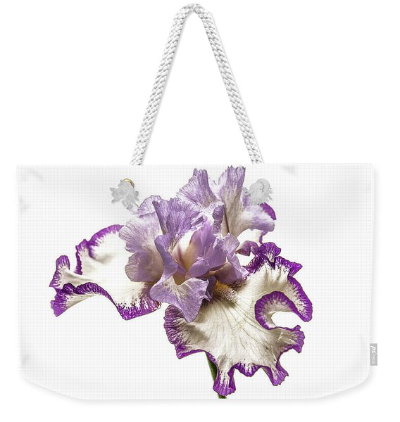 Purple White Iris Weekender Tote Bag