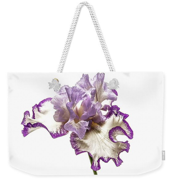 Weekender Tote Bag featuring the photograph Purple White Iris by Scott Cordell
