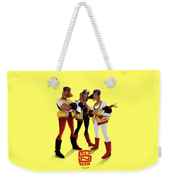 Weekender Tote Bag featuring the digital art Push It by Nelson Garcia