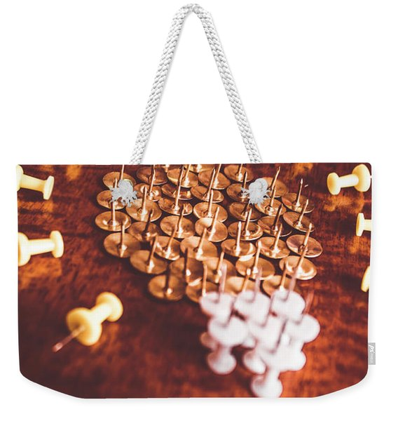 Pushpins And Thumbtacks Arranged As Light Bulb Weekender Tote Bag