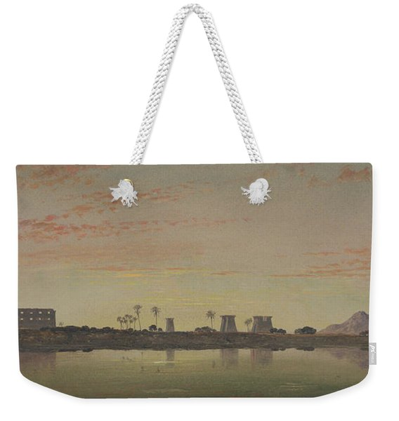 Pylons At Karnak, The Theban Mountains In The Distance Weekender Tote Bag