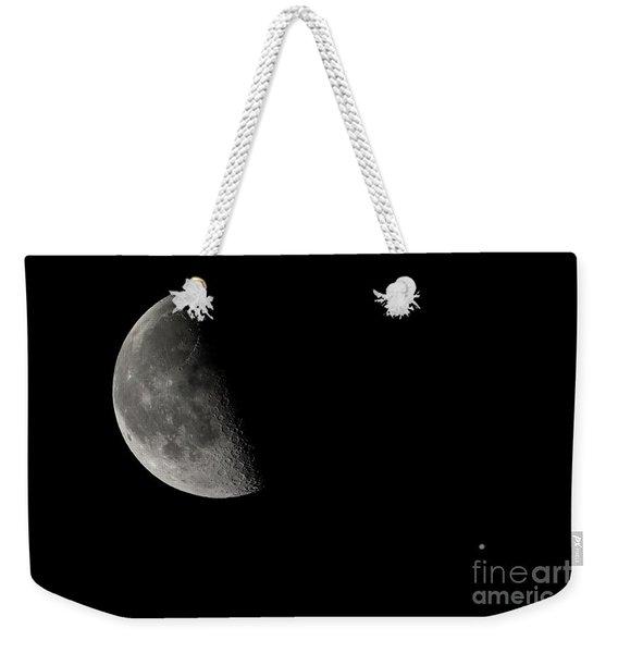 Quarter Moon And Jupiter  Weekender Tote Bag