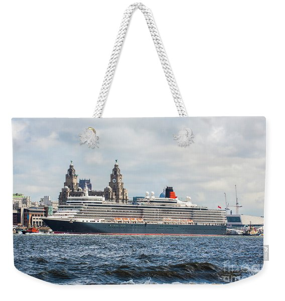 Queen Elizabeth Cruise Ship At Liverpool Weekender Tote Bag