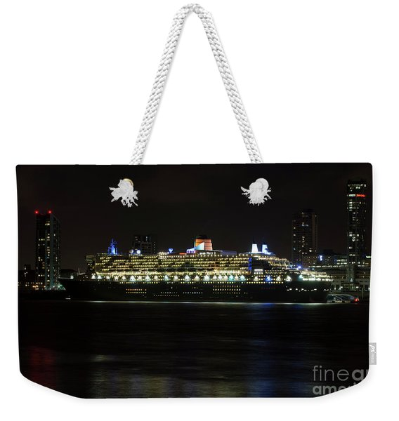Queen Mary 2 At Night In Liverpool Weekender Tote Bag