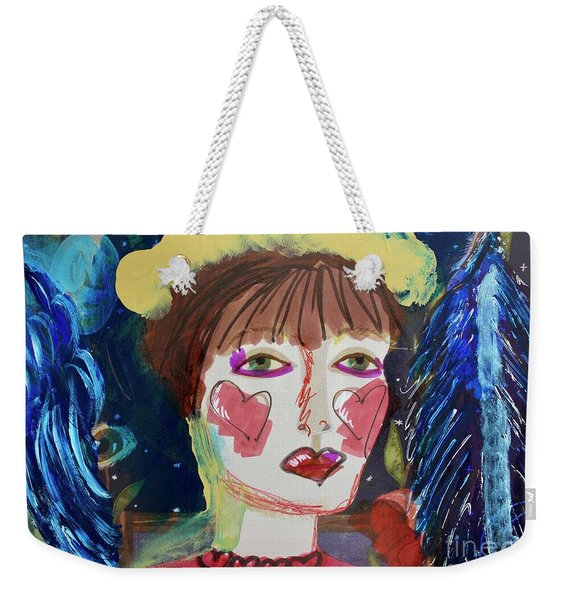 Weekender Tote Bag featuring the painting Queen Of Hearts by Kim Nelson