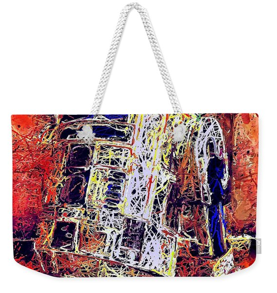 Weekender Tote Bag featuring the mixed media R2 - D2 by Al Matra