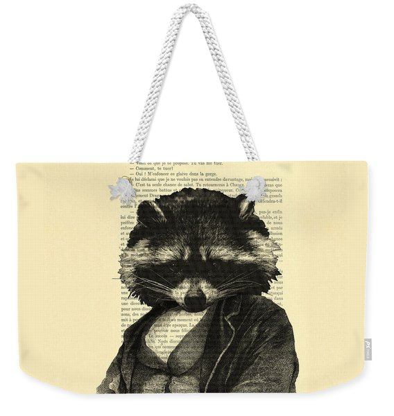 Raccoon Portrait, Animals In Clothes Weekender Tote Bag