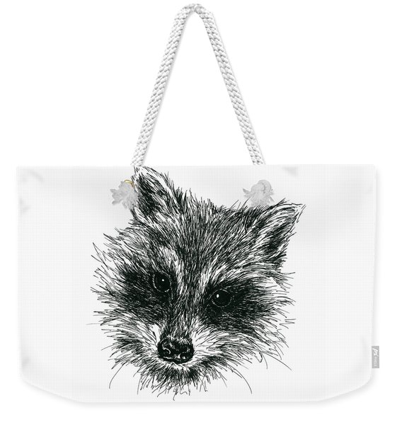 Raccoon Portrait In Ink Weekender Tote Bag