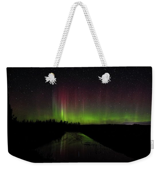 Red And Green Aurora Pillars Weekender Tote Bag